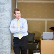 Storage: Business Man Stands By Temporary Office — Stock Photo