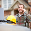 Construction: Construction Worker on Phone — Stock Photo
