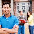 Construction: Man at New Home Site — Stock Photo