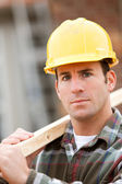 Construction: Serious Worker on Home Site — Stock Photo