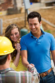 Construction: Homeowner Meeting with Contractor — Stock Photo