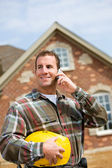 Construction: Contractor on the Phone — Stock Photo