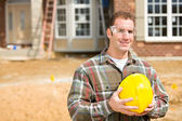 Construction: Contractor Wearing Safety Equipment — Stock Photo