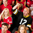 Fans: One Man Cheers For the Other Team — Stock Photo