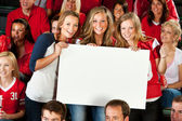 Fans: Three Girlfriends Hold Up Blank Sign — Stock Photo