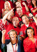 Fans: Male Friends Cheer on Team — Stock Photo