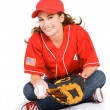 Baseball: Cute Baseball Fan Sitting — Stock fotografie