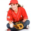 Baseball: Cute Baseball Fan Sitting — Stockfoto