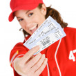 Stock Photo: Baseball: Focus on Baseball Tickets