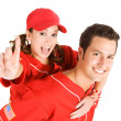Baseball: Woman Fan Says Number One — Stock Photo