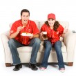 Baseball: Friends Anxiously Watching Game — Stock Photo