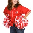 Baseball: Baseball Fan with Poms — Stock Photo