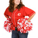 Baseball: Baseball Fan with Poms — Stock Photo