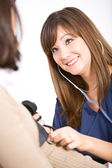 Nurse: Checking Patient Blood Pressure — Stock Photo