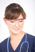 Nurse: Nurse with Safety Glasses — Stock Photo