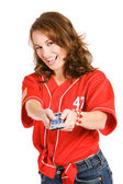 Baseball: Woman Changing Channels — Stock Photo
