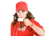 Baseball: Taking a Drink of Beer — Stock Photo