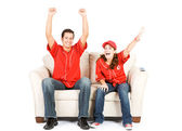 Baseball: Two Fans on Couch and Cheering — Stock Photo