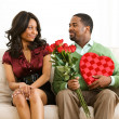 Couple: Man Gives Sly Look to Girlfriend — Stockfoto