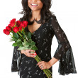 Couple: Woman Holds Bunch of Roses — Stock Photo