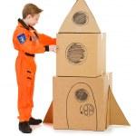 Astronaut: Building a Space Ship — Stock Photo