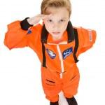 Astronaut: Saluting Boy Astronaut — Stock Photo