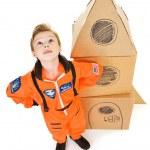 Astronaut: Boy Astronaut Looks Skyward — Stock Photo