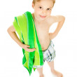 Swimmer: Boy with Towel Ready to Swim — Stock Photo