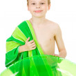 Swimmer: Ready to Swim with Towel and Tube — Stock Photo