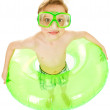 Swimmer: Kid Ready with Swim Mask and Tube — Stock Photo #26174565