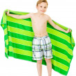 Swimmer: Boy Holding Up Beach Towel — Stock Photo