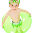 Swimmer: Boy Ready to Swim with Mask and Tube — Stock Photo