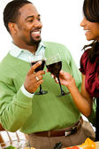 Couple: Toasting with Glasses of Wine — Stock Photo