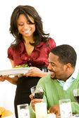 Couple: Woman Serving Dinner — Stock Photo