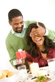 Couple: Suprising Girlfriend with Present — Stock Photo