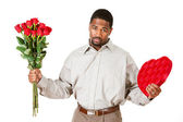 Couple: Man Apologizing With Gifts — Stock Photo