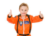 Astronaut: Two Thumbs Up for Space Travel — Stock Photo