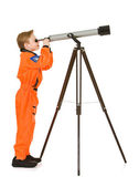 Astronaut: Looking Through a Telescope — Stock Photo