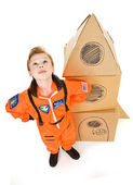 Astronaut: Boy Astronaut Looks Skyward — Stock Photo