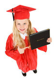 Graduate: Girl Points to Diploma — Stock Photo
