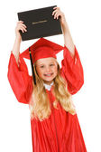 Graduate: Girl Holds Diploma in the Air — Stock Photo