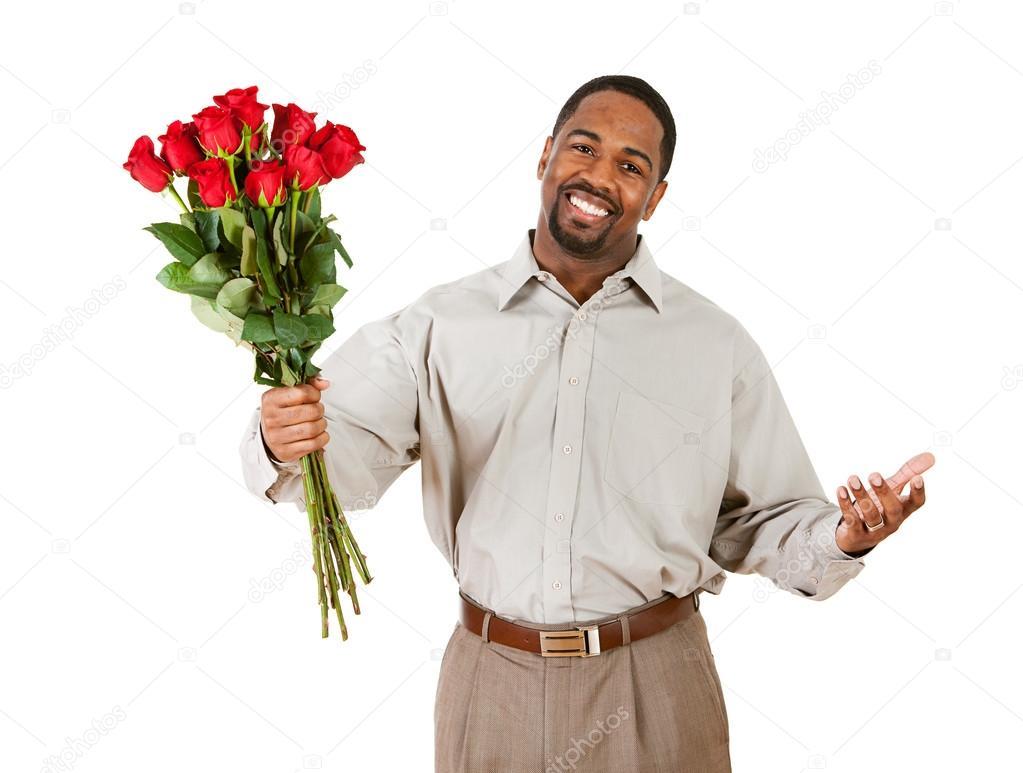Couple homme tient le bouquet de fleurs photographie for Bouquet de fleurs homme
