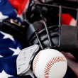 Stock Photo: Baseball: Baseball Equipment on Flag