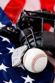 Baseball: Baseball Equipment on Flag — Stock Photo