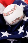 Baseball: Ball Sitting on American Flag — Stock Photo