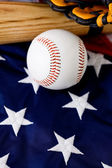 Baseball: Baseball Equipment with Copyspace Below — Stock Photo