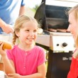 Summer: Girl Talking with Mother Before Eating — Stock Photo #26308189