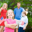 Summer: Cute Girl with American Flags — 图库照片