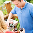 Summer: Man Pouring Glass of Wine — Stock Photo