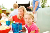 Summer: Family Having Dinner on Deck — Stock Photo
